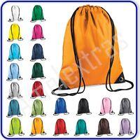 New Good Quality Plain Waterproof PE Bag Gym Sports Rucksack School Swim Dance