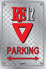Metal Parking Sign Rotary Mazda Style 12-TRIANGLE#18 - Checkerplate Look