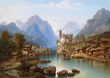 Beautiful Oil painting village at the Foot of the mountains by river & bridge