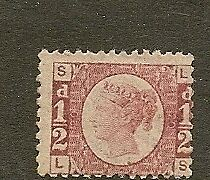 GB QV 1870 HALFPENNY SG48 PLATE 20 UNMOUNTED MINT 'LS '