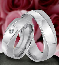 2 wunderschöne Ringe Trauringe Eheringe mit Stein , GRAVUR GRATIS  JE97-1