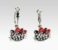 HELLO KITTY STYLE EARRINGS STUD PENDANT BLACK ENAMEL & RHINESTONES RETRO RED BOW