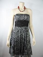 BCBG MAXAZRIA Silk Sheer Gray Glitter Empire Waist Novelty Cocktail Dress Size 2