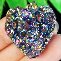 Rainbow Titanium Crystal Agate Druzy Quartz Geode Heart Pendant Bead YJ60297