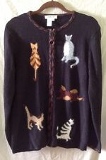 Coldwater Creek Small Black Kitty CATS on Zip Front Cardigan Sweater