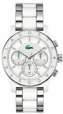 LACOSTE WOMEN'S STAINLESS/ACRYLIC WHITE DIAL CHRONO LOGO FASHION WATCH * 2000803