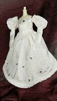 Handmade OOAK Barbie Doll Wedding Dress Clothes Formal Fancy White Lace