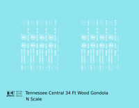 K4 N Decals Tennessee Central 34 Ft Wood Gondola White