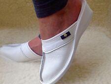 New Women Nurse White Wooden Flip Flop Leather Slippers Wedge Size 3 4 5 6 7 8