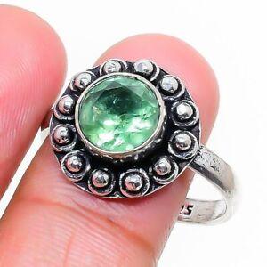 Green Amethyst Gemstone Handmade 925 Sterling Silver Jewelry Ring Size 8.5