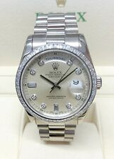 Rolex Day Date 118399BR White Gold Baguette Bezel SERVICED BY ROLEX