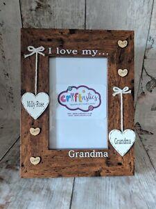 Personalised Nanny 4x6 picture photo frame, I love my Grandma gift, Gran gift