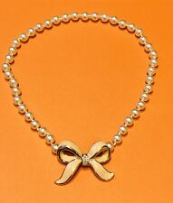 Daniel Swarovski DS Co. Pearl Crystal Enamel Bow Necklace