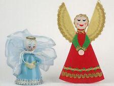 Mid Century Modern Christmas Ornaments Light Blue Angel Red Angel Vintage