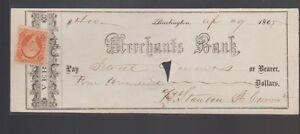Merchants Bank Burlington Vt Used Check 1865 w Revenue Stamp
