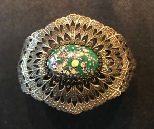 Vintage Silver Tone Hinged Cuff Bracelet Large Green Stone