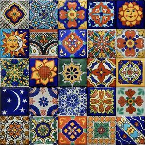 25 Mexican Talavera TILES 2x2 Clay Handmade Folk Art Mosaic Handpainted