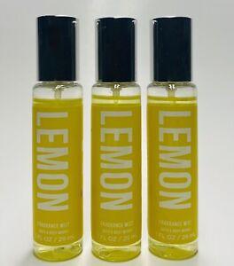 3 Bath & Body Works LEMON Travel Size Mini Fragrance Mist Spray (1 oz)