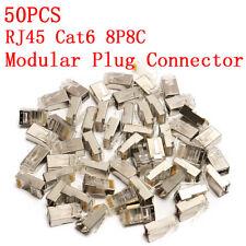 50x RJ45 Cat6 8P8C Modulaire Adaptateur Connecteur Câble Interface Réseau Fiche