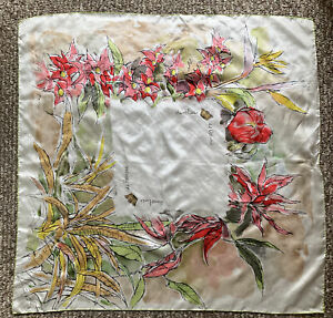 S.S. Oceanic & S.S.Homeric HOME LINES souvenir silk scarf floral print  Signed