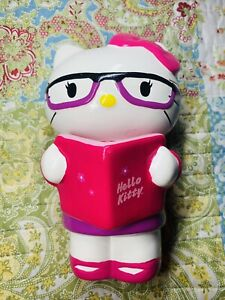 """Sanrio Hello Kitty Ceramic Coin Bank 9"""" Smart Cat with Glasses & Reading Book"""