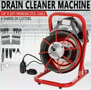 """50' X 3/8"""" Drain Cleaner Machine Commercial Sewer Snake Plumbing Machine Great"""
