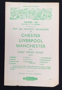 1960 Railway Handbill Chester Liverpool Manchester From North Wales
