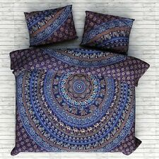 blue elephant mandala bedding set with pillow cases 100% cotton bed cover