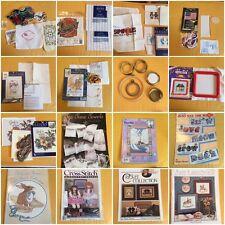Assorted Lot of CROSS STITCH Craft Supplies - Pattern Books/Floss/Fabric