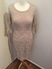 Bnwt Pink Round Neck Lace Dress James Lakeland Rrp £199 Size 8/XS