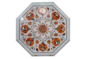 "12"" Marble Corner Coffee Table Inlay Mosaic Marquetry Handmade Home Decor"