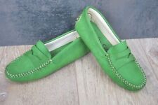 FRENCH SOLE Driving Shoes UK 2.5-3 Eu35 GREEN Nubuck Leather Moccasin Flats £120