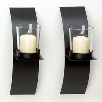 Modern Art Candle Holder Wall Black Sconce Plaque DIY Decor Home Wedding H2U7