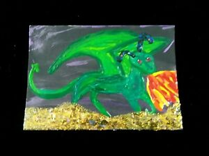painting STUKA The DRAGON art trading card ACEO green DINOSAUR gold OPEN SOURCE