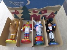 4 NUTCRACKER VILLAGE Circus Themed Handcrafted Wooden ORNAMENTS-1994 NRFB