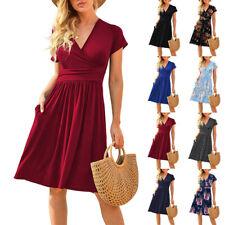 Womens V Neck Short Sleeve Casual Floral Short Dress Loose Pocket Beach Sundress