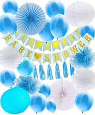 Baby Shower Decorations For Boy, 30 Pieces Banners, Balloons, Lanterns, Pom Poms