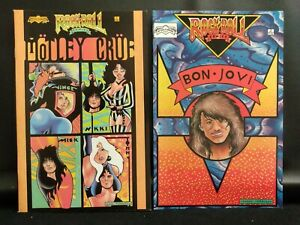 ROCK N ROLL COMICS LOT #3 BON JOVI, #4 MOTLEY CRUE 80s hairband glam metal NICE!
