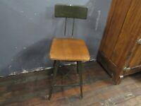Vintage Antique Adjustable Drafting Stool Chair Steam Punk Industrial Wood Steel