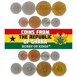 SET OF 8 COINS FROM GHANA. 1/2, 1, 2, 5, 10, 20, 50 PESEWAS, 1 CEDI. 1967-1979