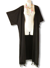 Black Plus Size Cardigan Duster Jacket Kimono Maxi Cover up - 2X, 3X, 4X & 5X