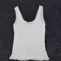 Vintage Sheer White Floral Stretchy Nylon Lace Trim Camisole Medium