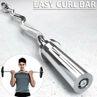 "Olympic Curl Bar 48"" Weight Lifting Barbell Weights & Spring Collars Gym Fitness"