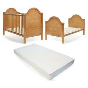 Wooden Baby Cot Bed & Deluxe Foam Mattress Converts to Junior Bed -FREE DELIVERY