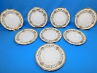 8 Aynsley China HENLEY Green Backstamp Gold Trim Bread Plates 6.25""