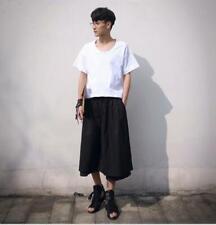 Mens Japanese Samurai Boho Loose Korean 3/4 Skirts Korean Trousers Pants Harem