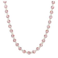 "White Freshwater Pearl / Faceted Pink Glass Round 18"" with Clasp Necklace"