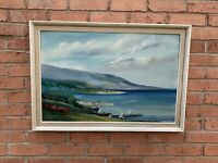 Vintage Seascape Beach Scene Oil Painting - Signed - Billington