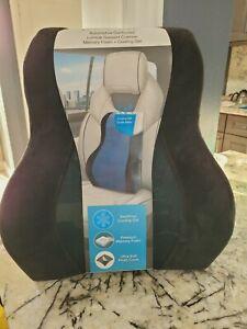 Brookstone Automotive Contoured Lumbar Support Cushion Memory Foam Cooling Gel B