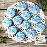 "12 Smile Pins Blue trade Badges 1 1/4"" PINBACK party favor gift DecoWords USA"